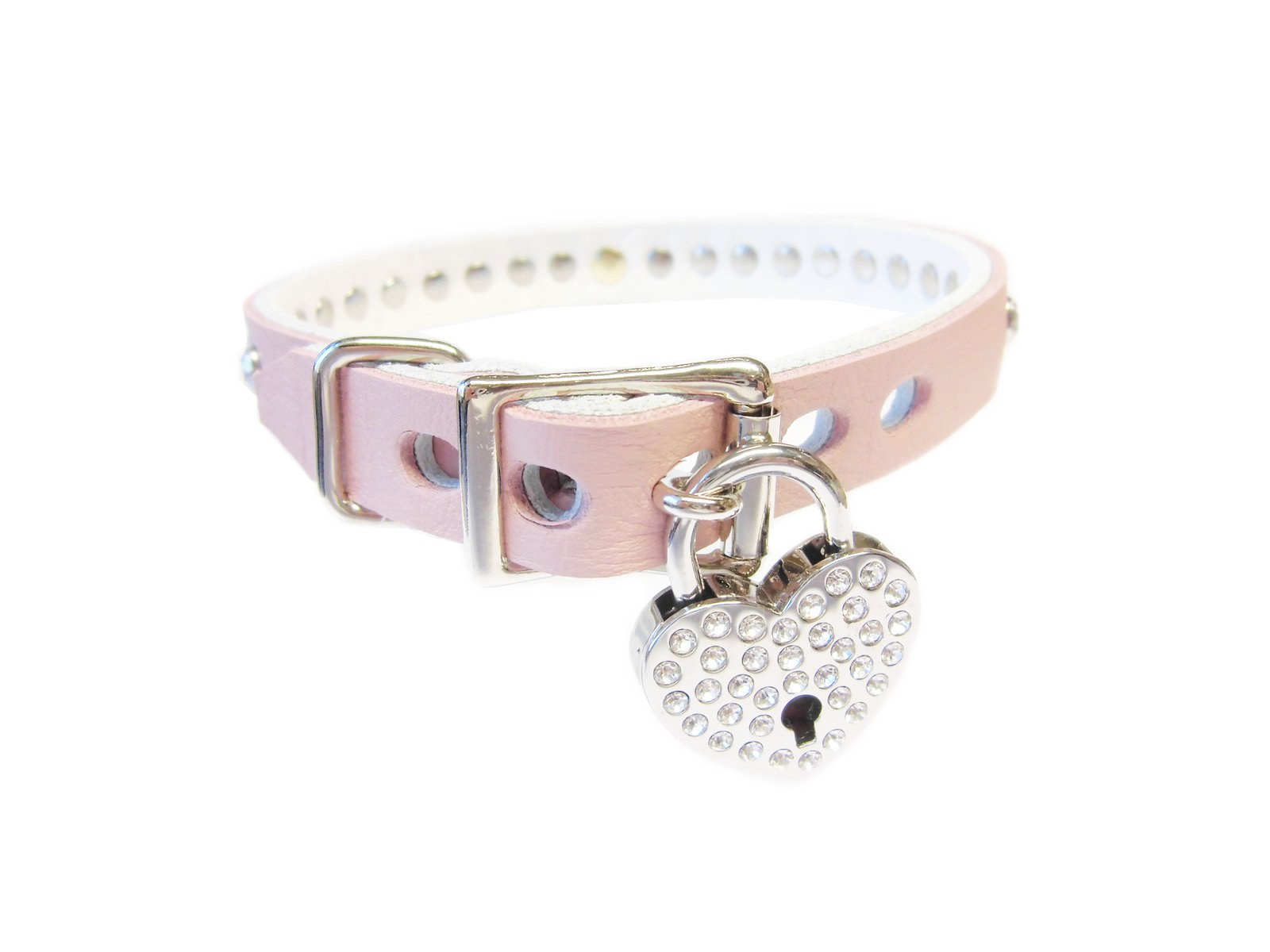 lockable buckle - rhinestone heart padlock