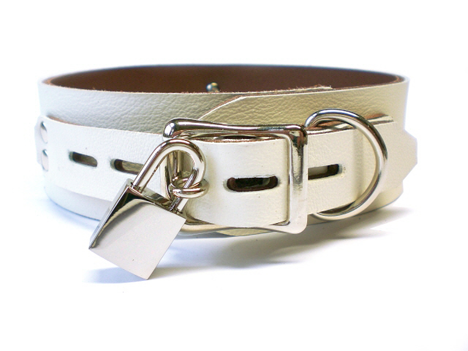 """3/4"""" lockable buckle fastened (this photo shows ivory white w/brown inlay)"""