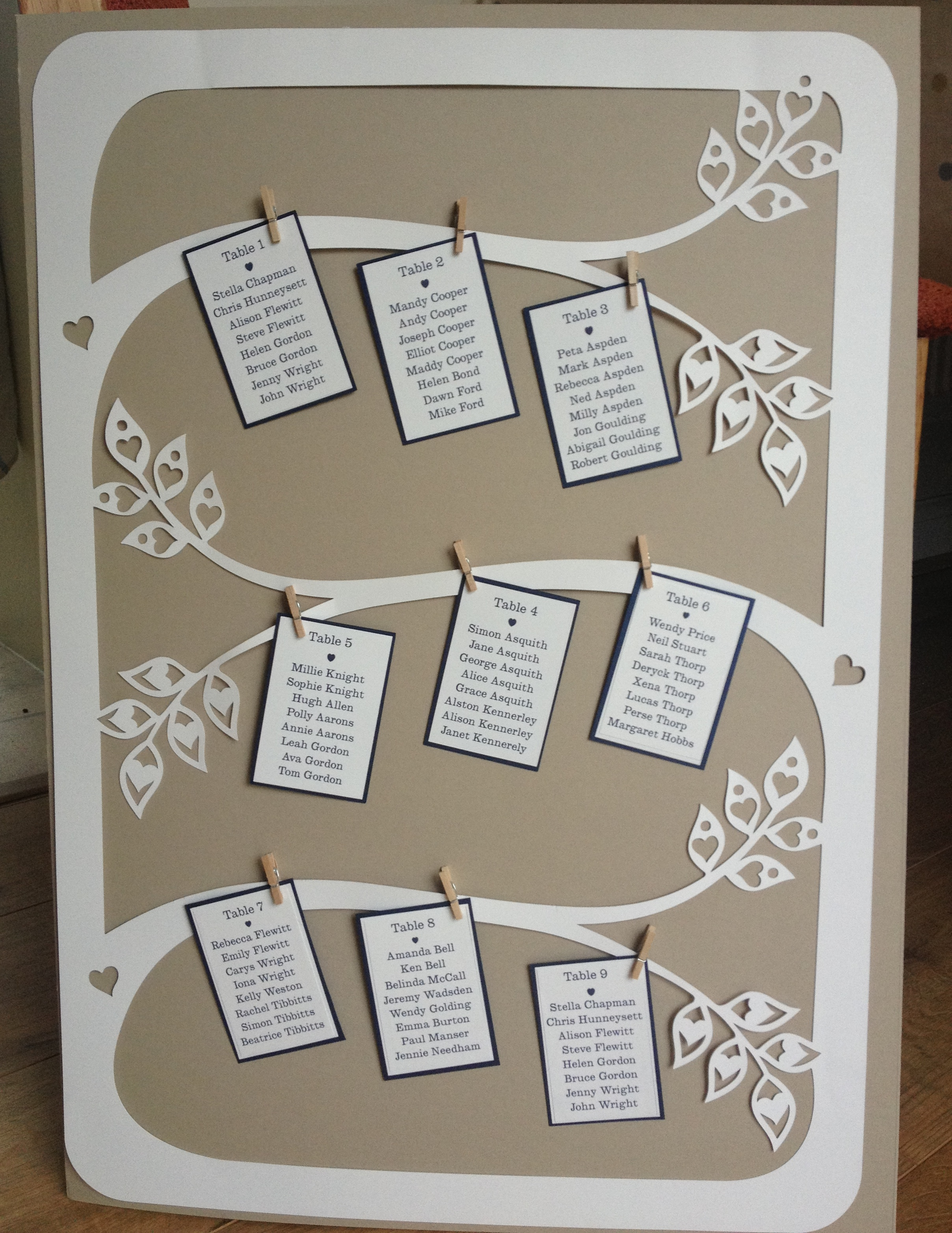 Great  flexible table plan,  by pegging the cards on  there is scope to add or remove tables easily