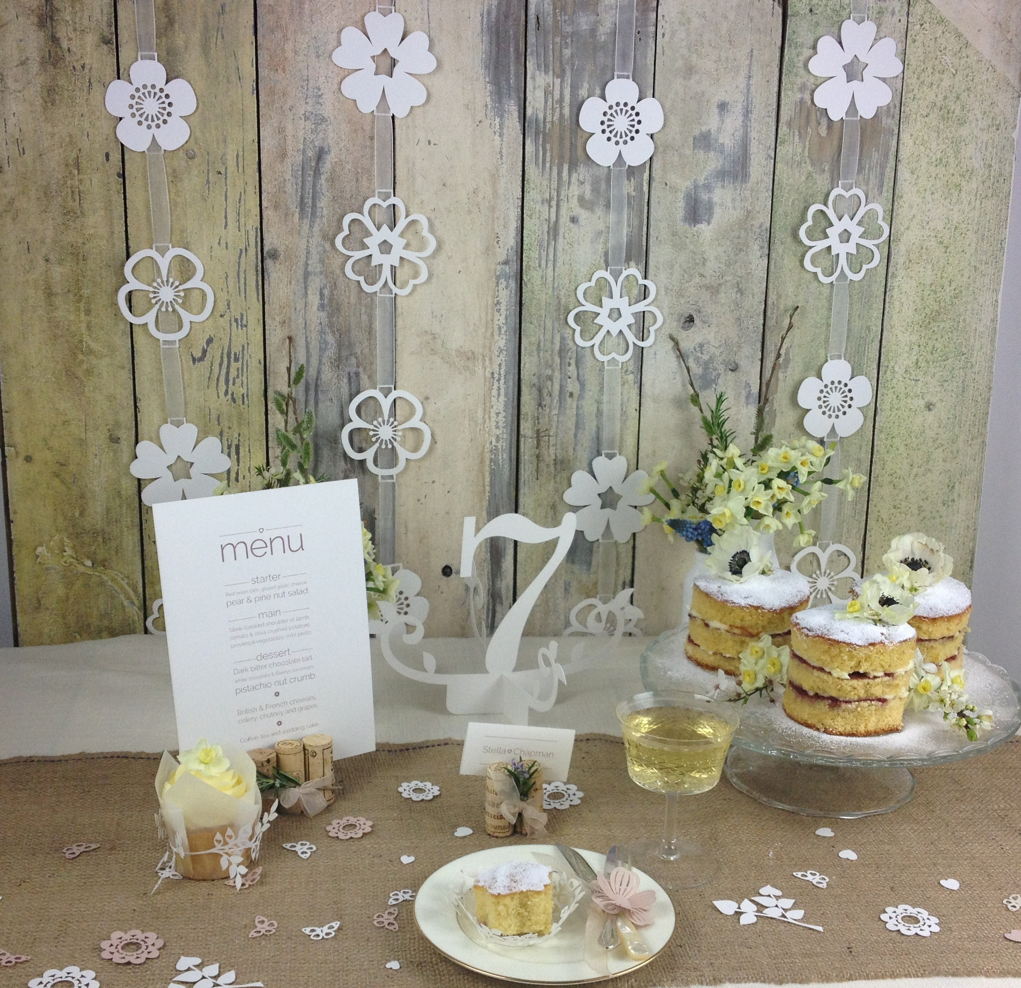 A woodland wedding themed table setting using items from our Natural Charms range - Thank you to my friends for collecting corks for this shoot