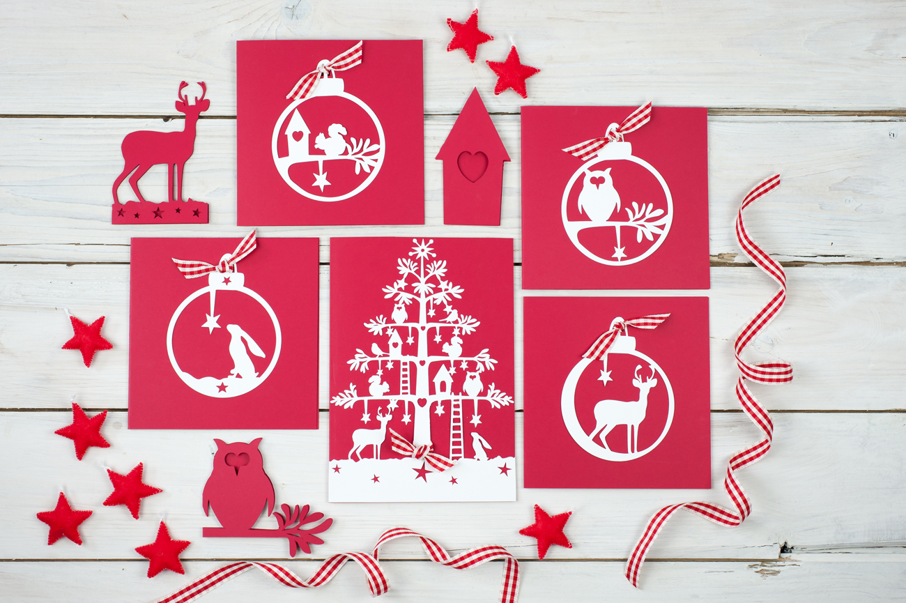 Christmas stationery paper cut folk range