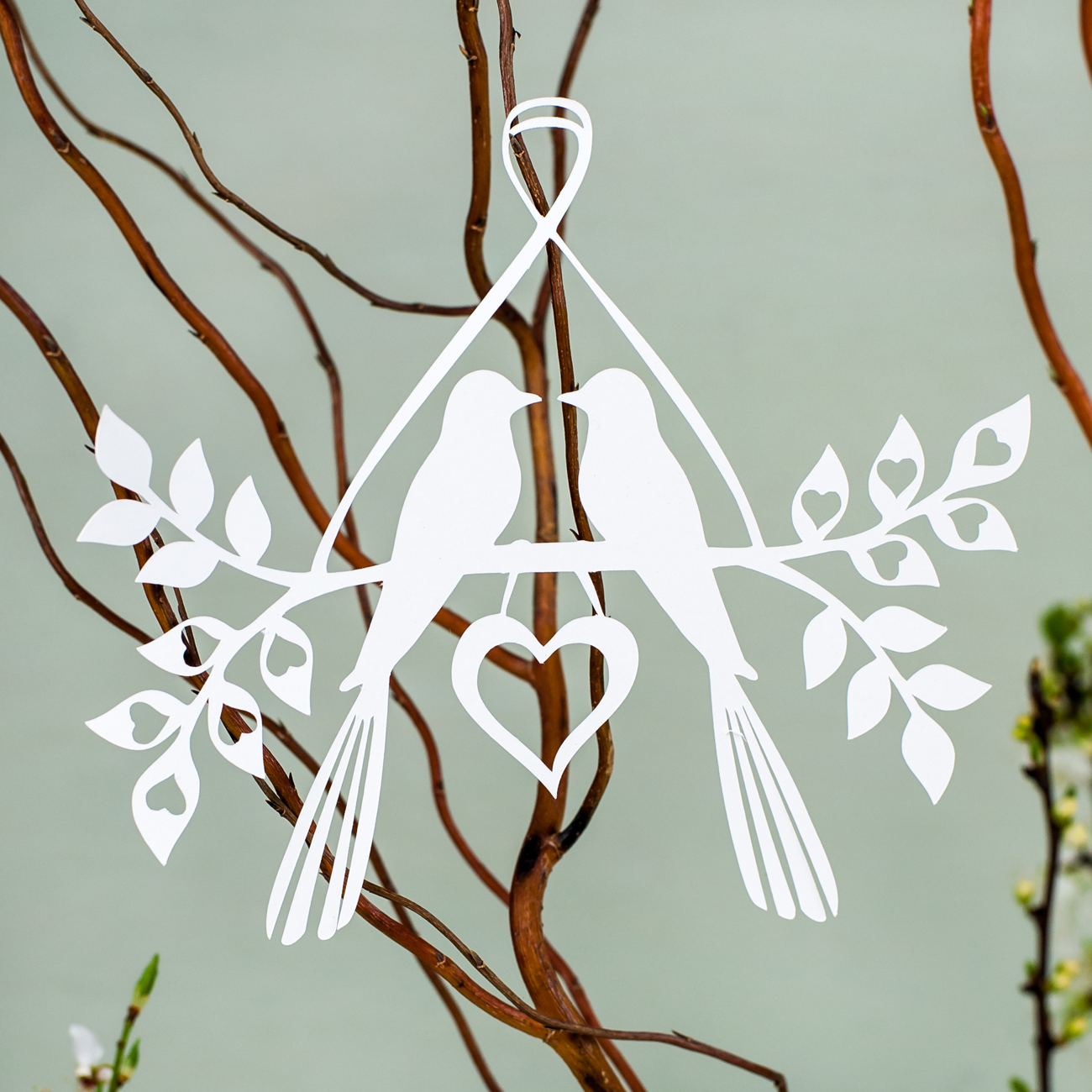 Lovebirds hanging decoration