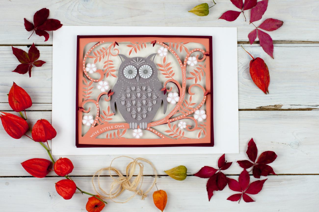 Wise little owl 3D paper cut wall art.