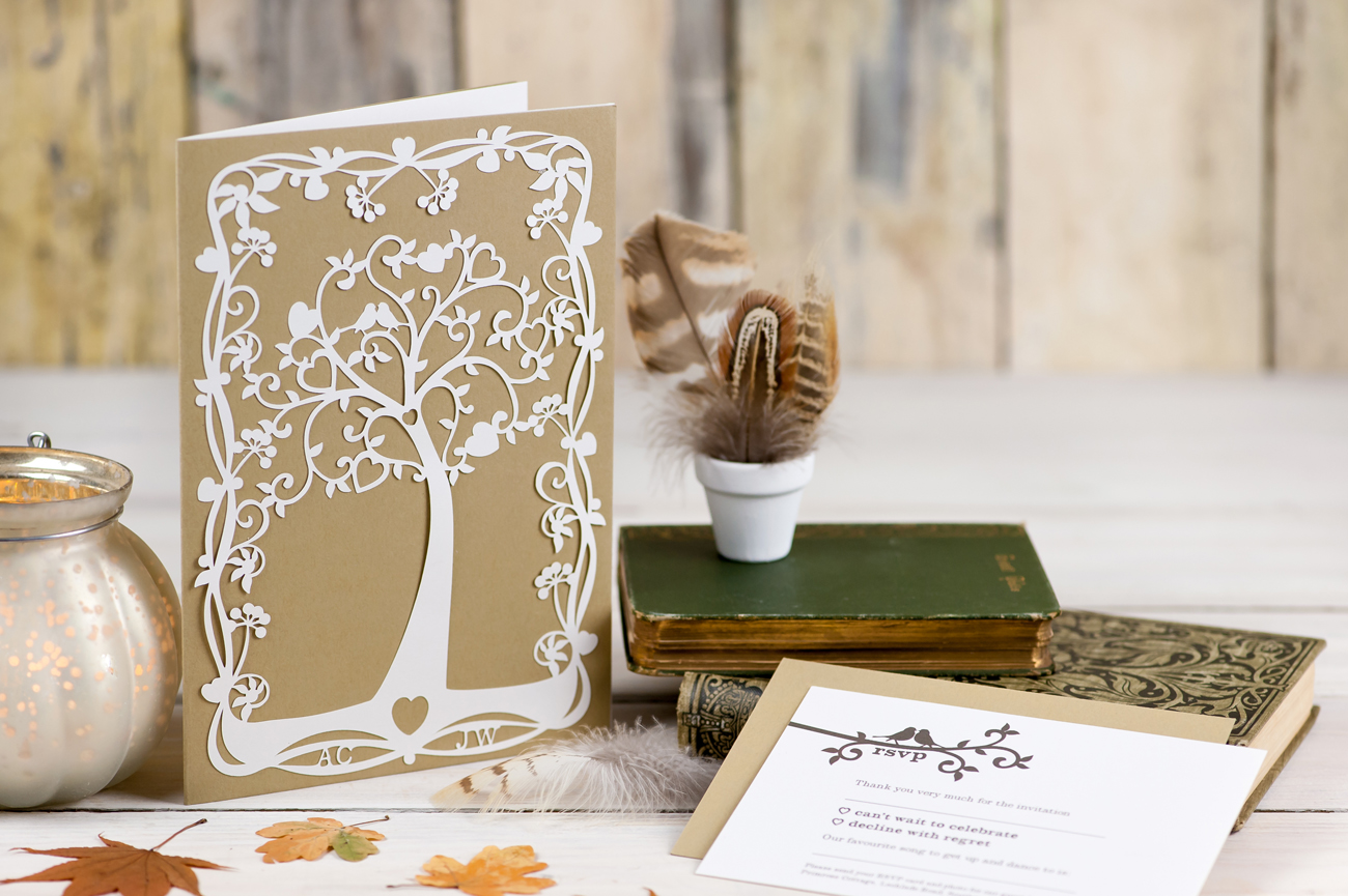 Tree of hearts wedding invitation brown