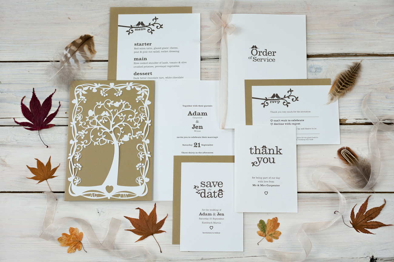 Tree of hearts wedding stationery