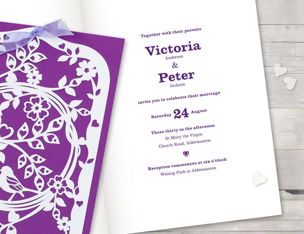 Vintage laser cut wedding invitation