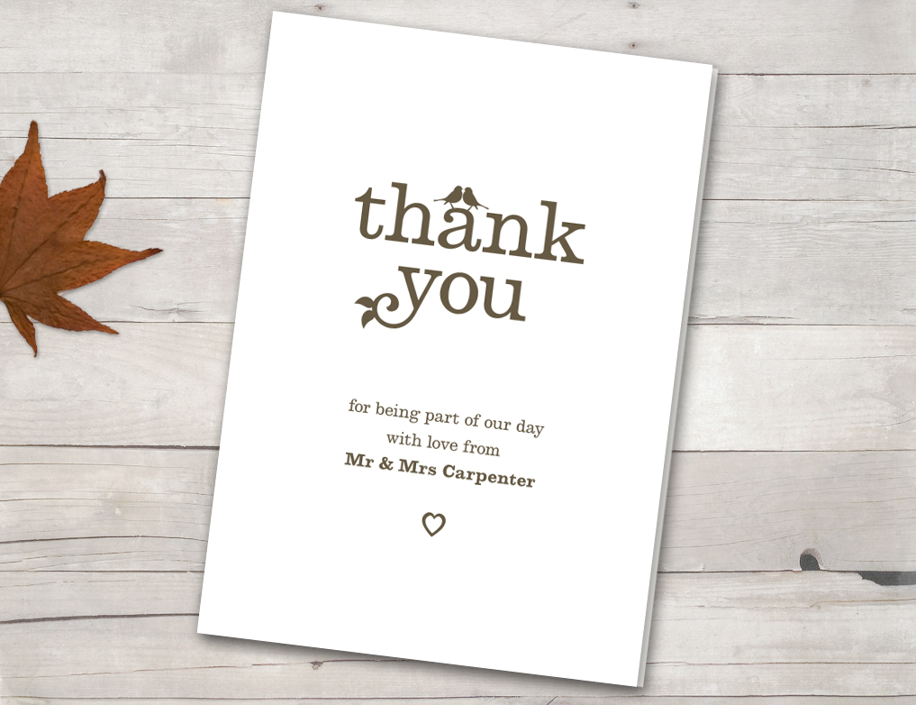 Vintage birds thank you cards