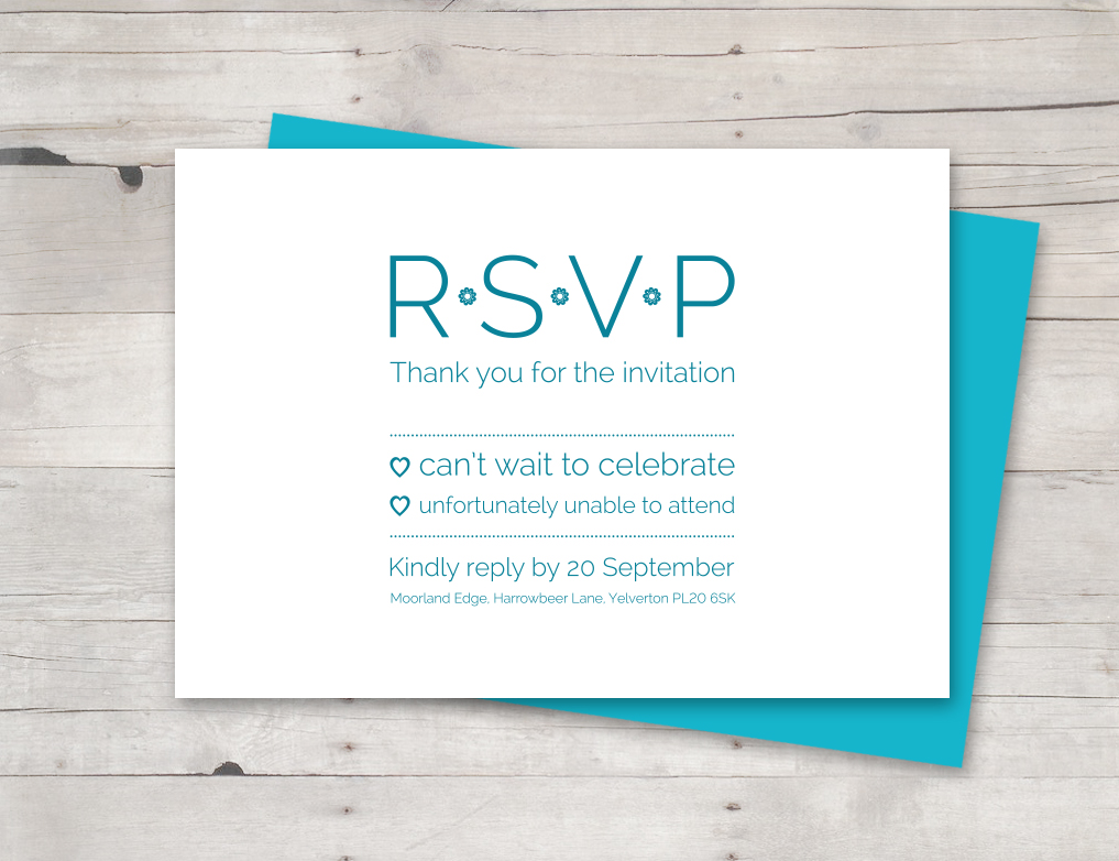RSVP card aqua