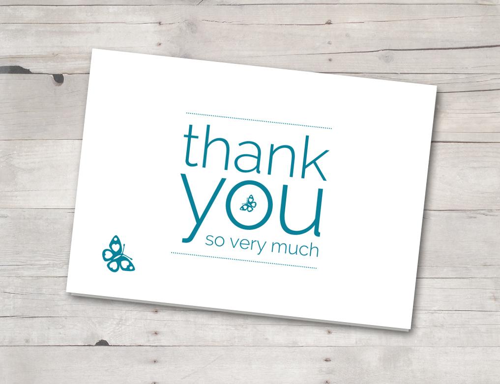 Thank you card aqua