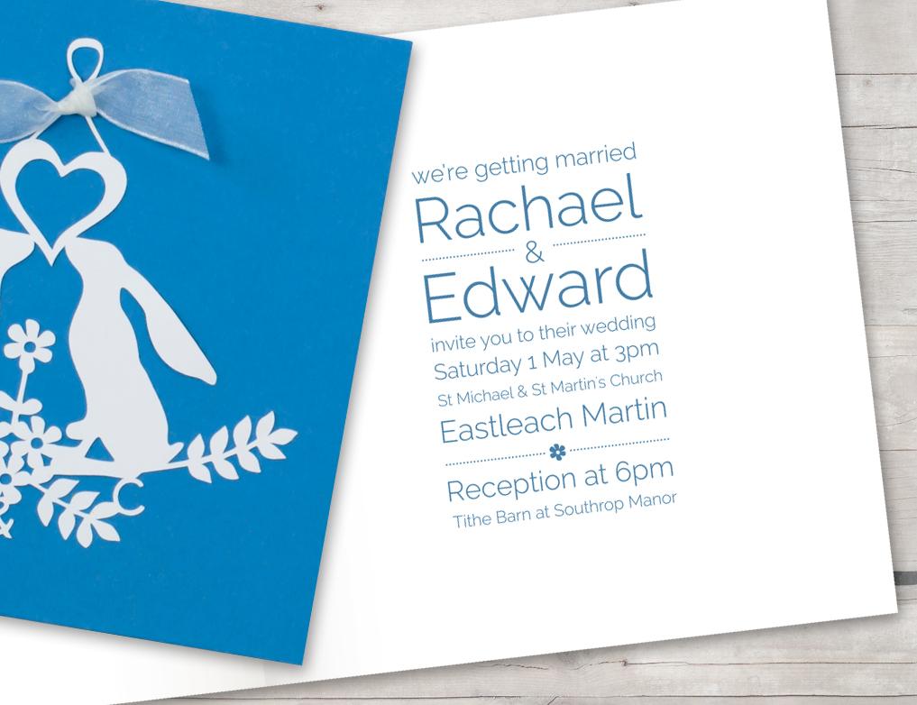 Laser cut invitation blue