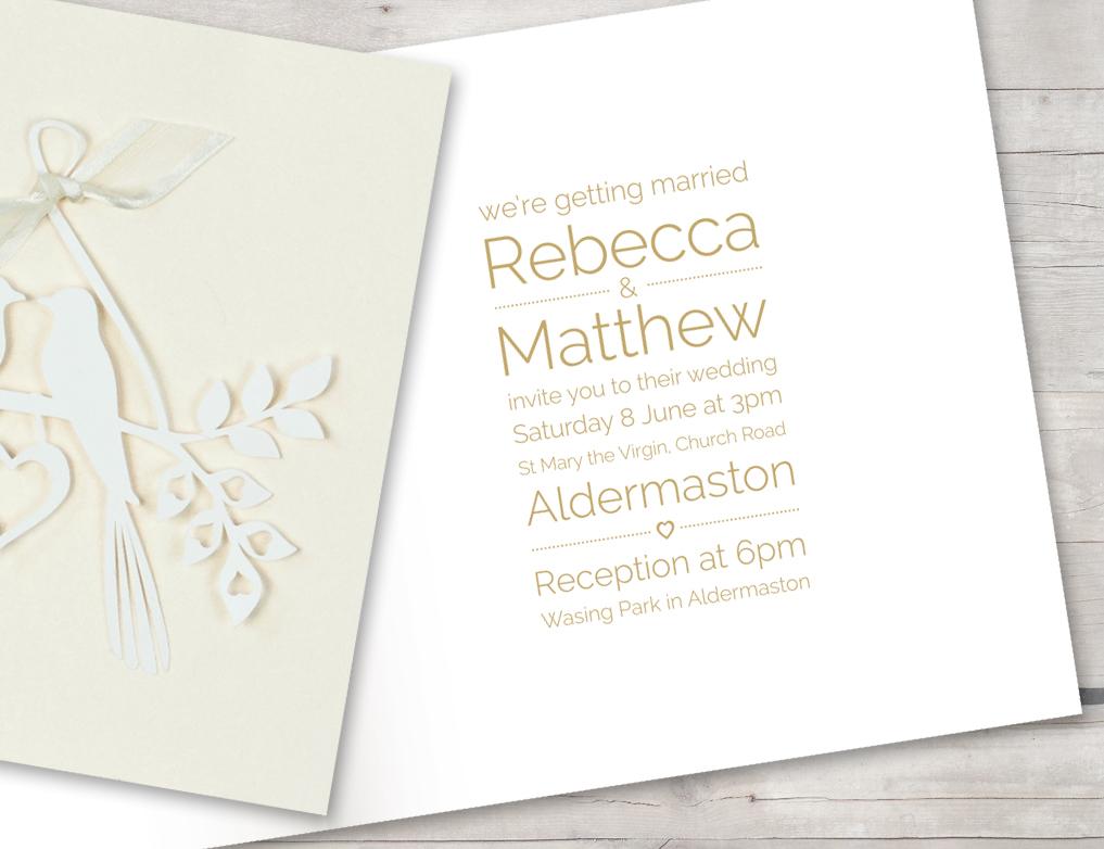 Love birds ivory shimmer invitation