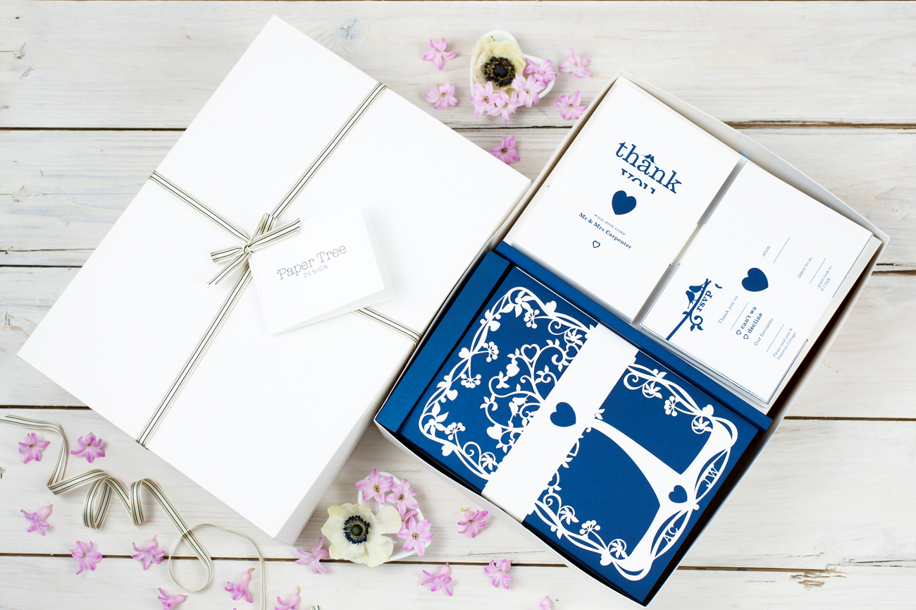 Wedding tree invitations navy blue