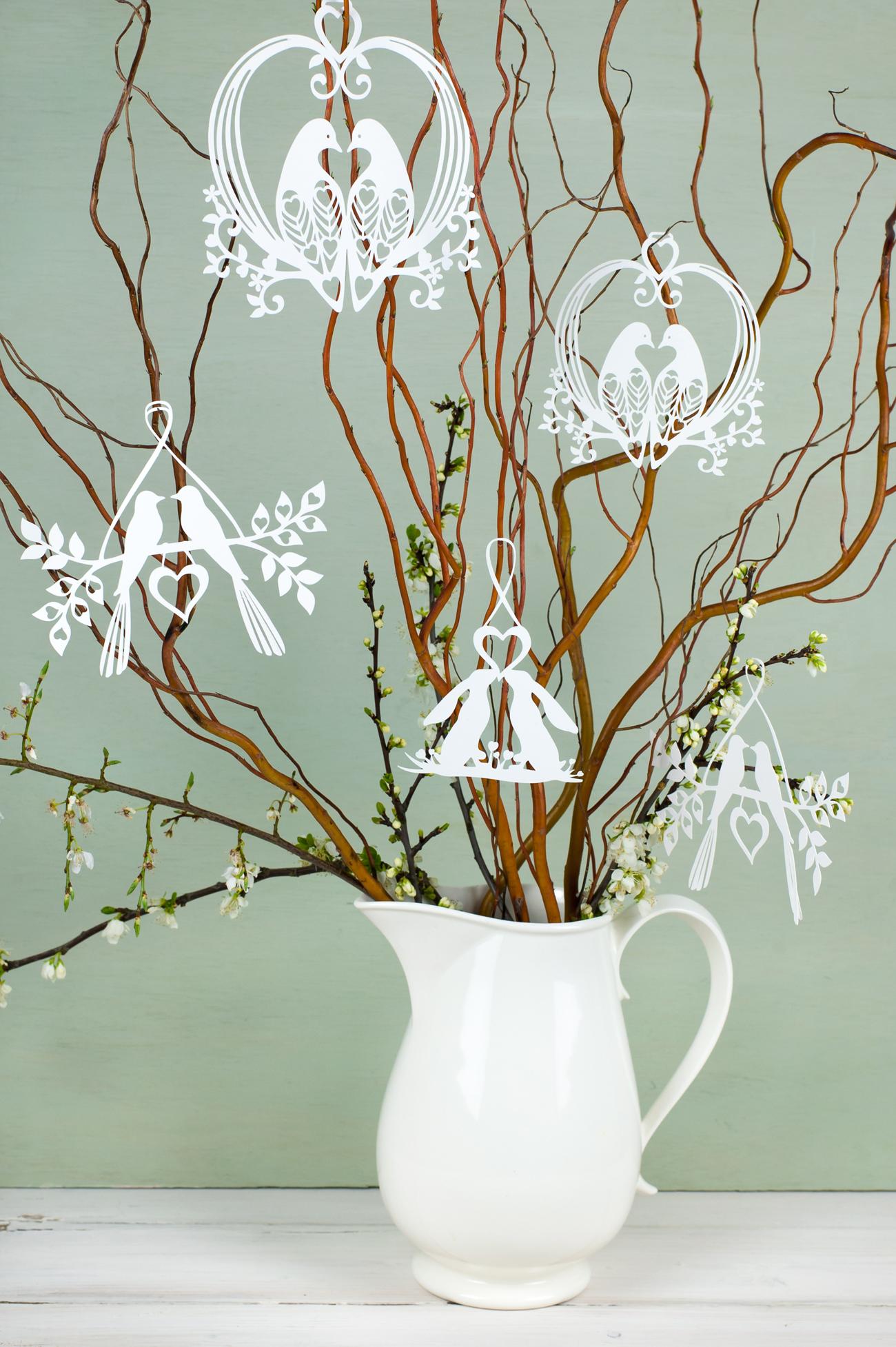 Paper cut hanging decorations