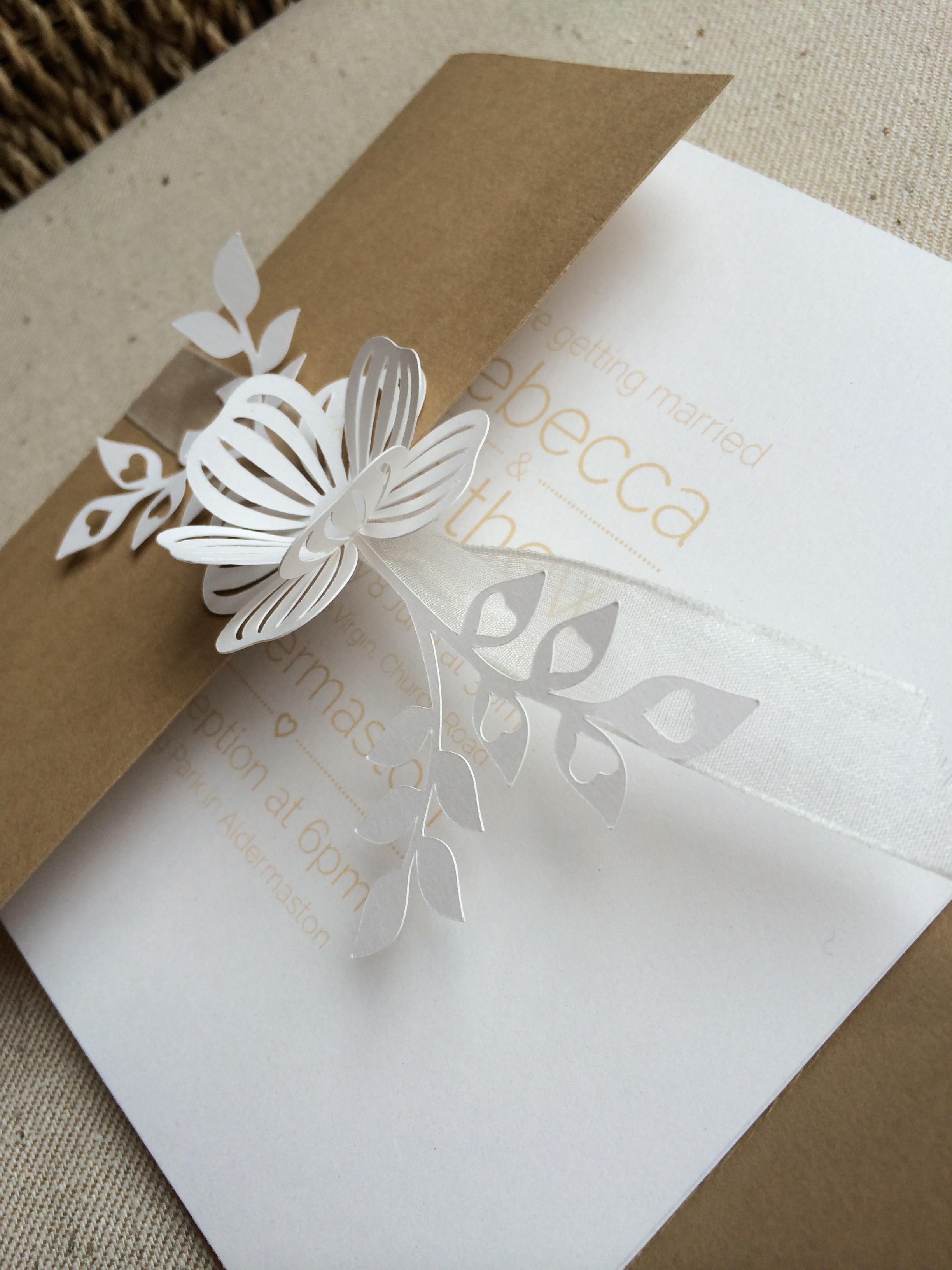Laser cut flower invitation