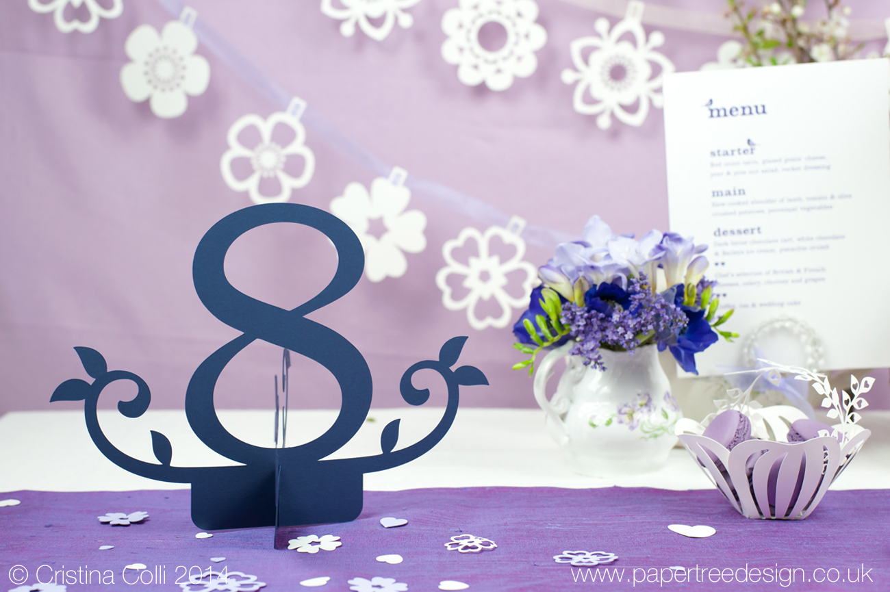 Paper cut table number