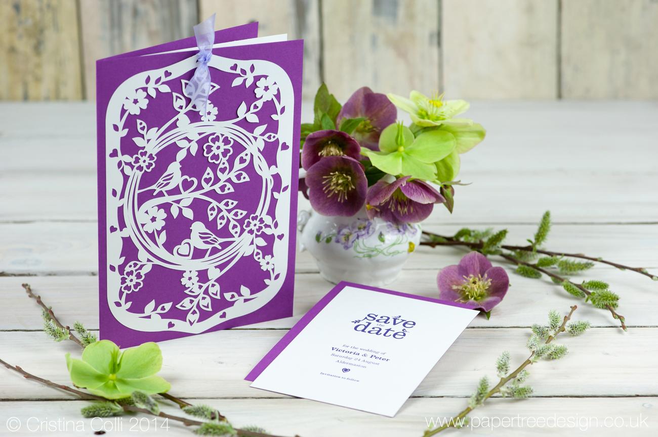 Entwined - Cut paper wedding invitation