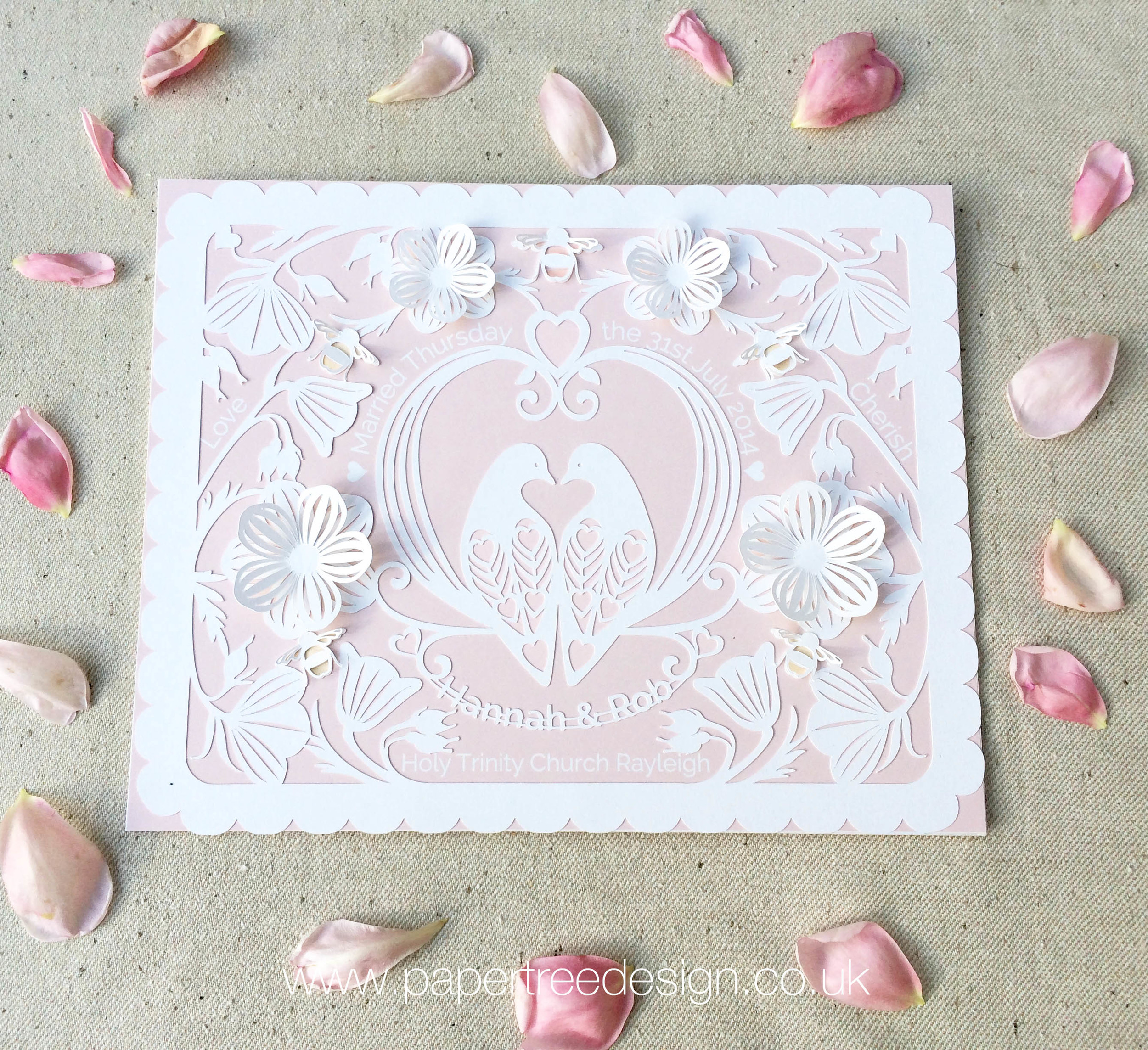 Lovely Doves Paper cut wall art