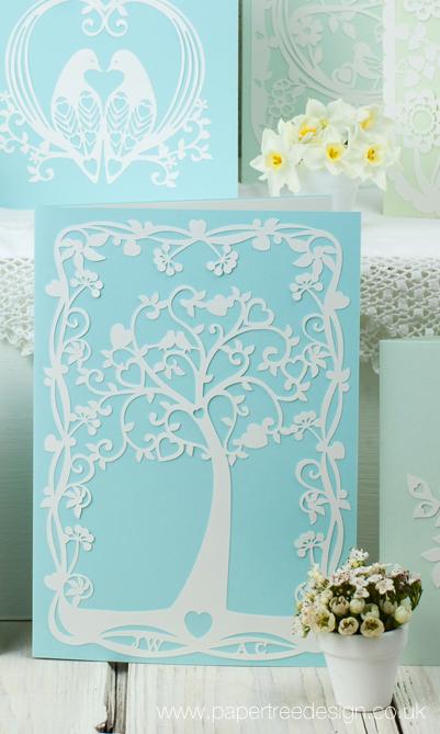 Aqua Tree of Hearts Wedding Invitation