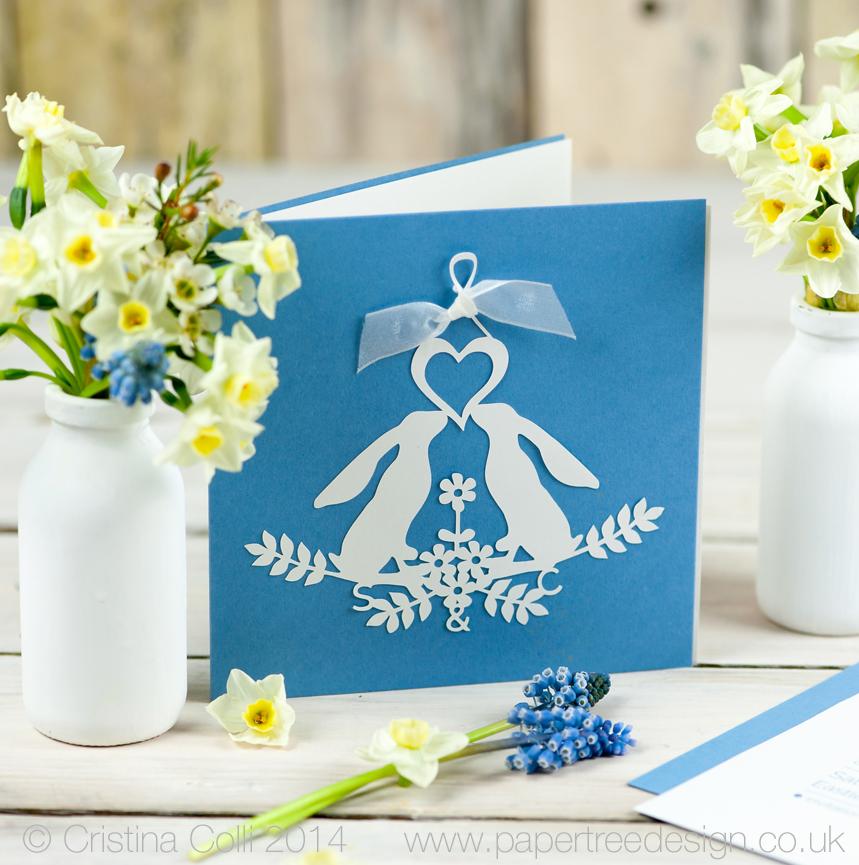 Gazing Hares  blue wedding Invitation