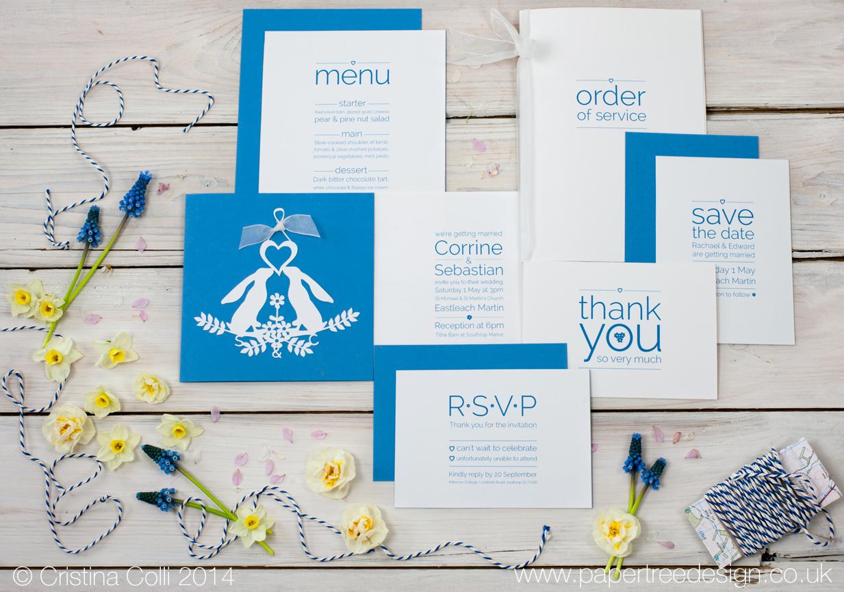 Gazing Hares Blue Wedding Stationery Suite