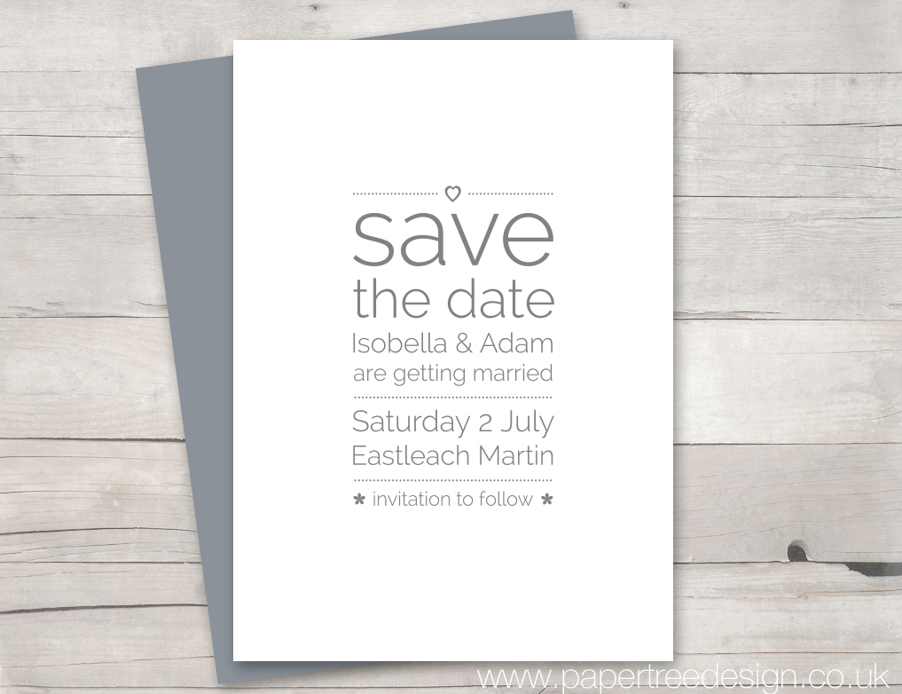 Save the Date Card grey