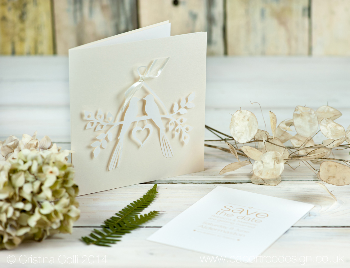 Love birds paper cut rustic wedding invitation