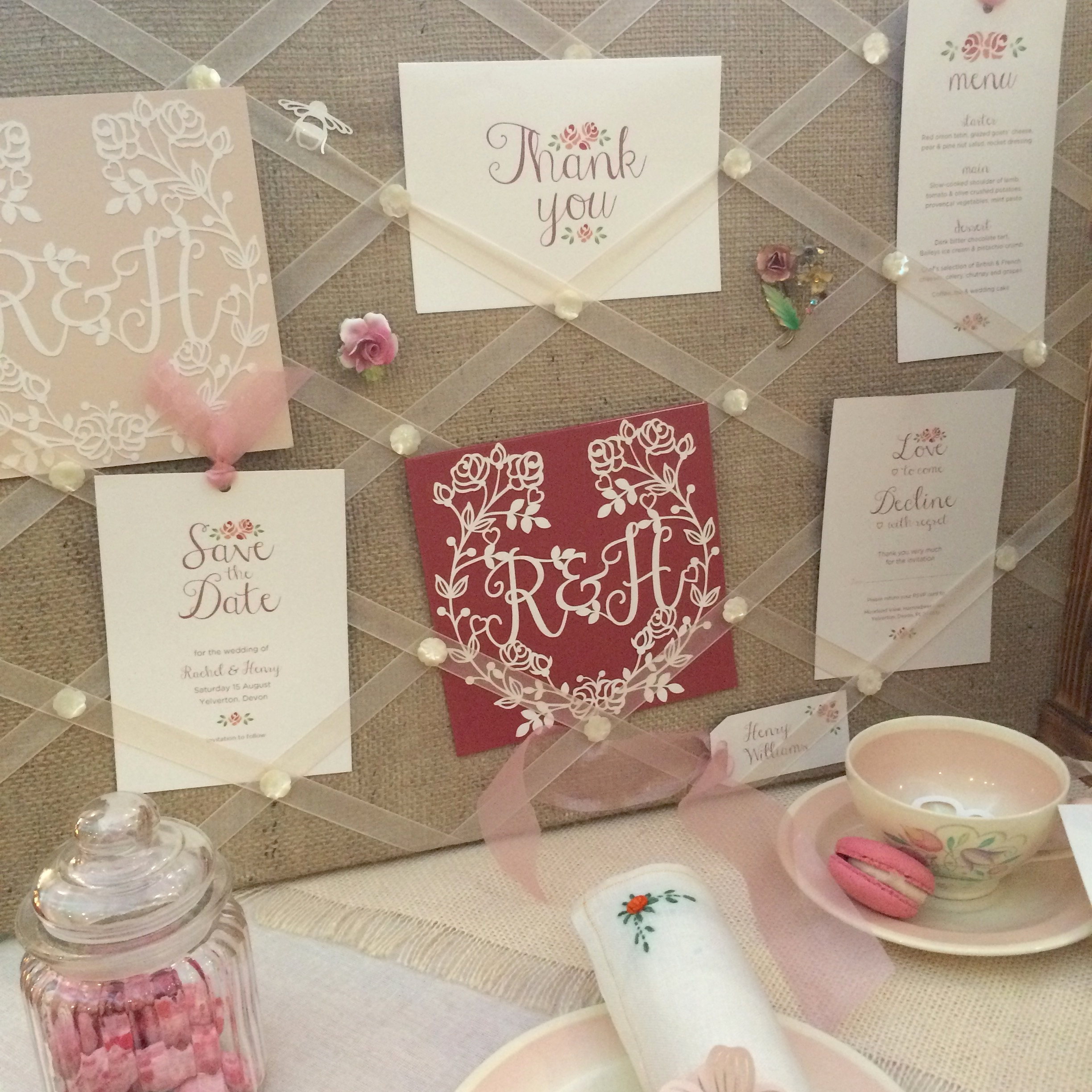 Part of our display from the Chosen Wedding Fair in Reading. Showing Biscuit and Marsala coloured card. Plus a bit more of my Susie Cooper collection!