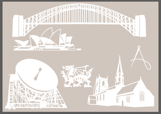 Initial shapes worked out, took me a while to work out how to make Sydney Opera house to look good in a paper cut!