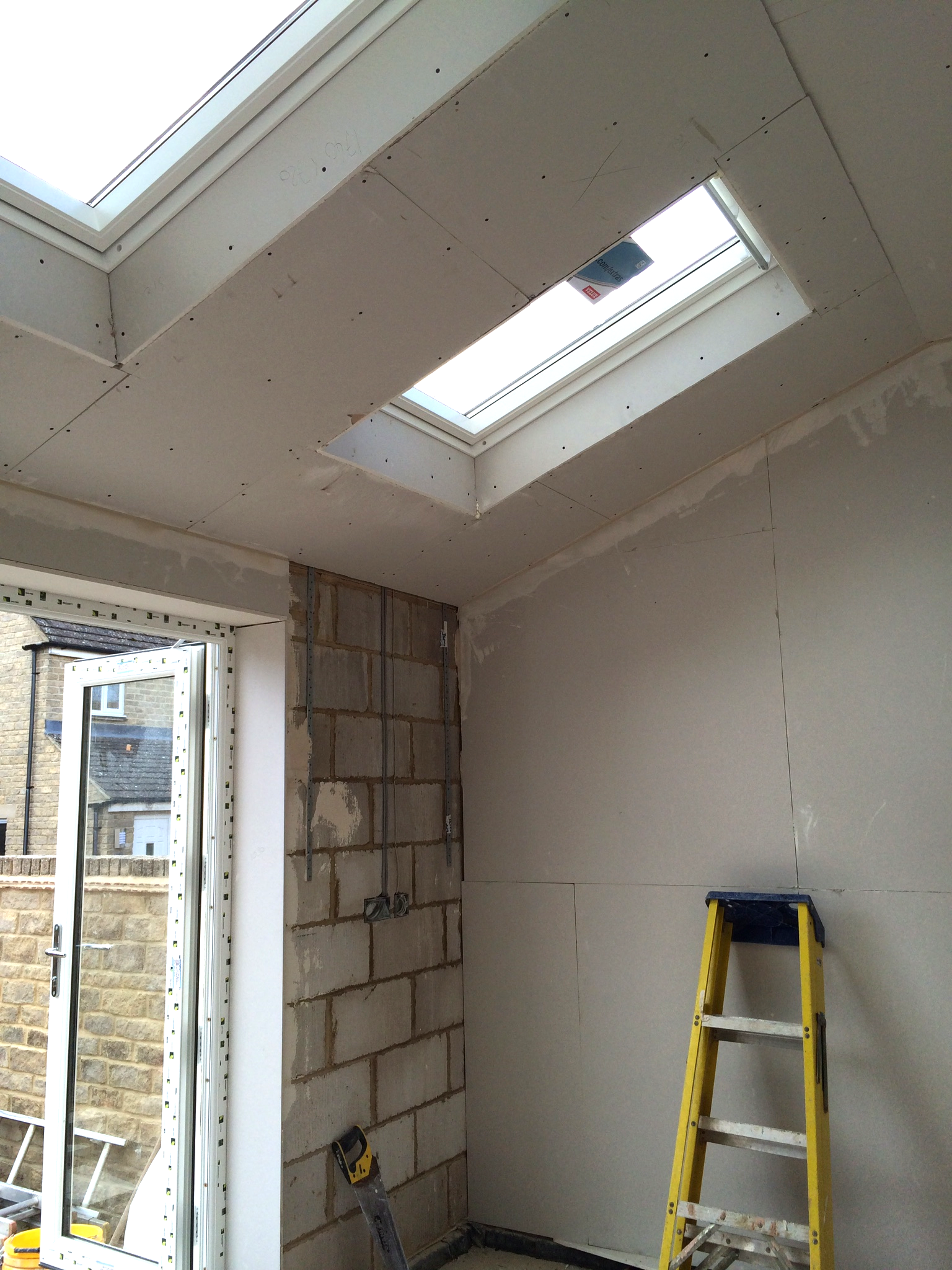 Once the plasterboard goes in the room really starts to take shape.