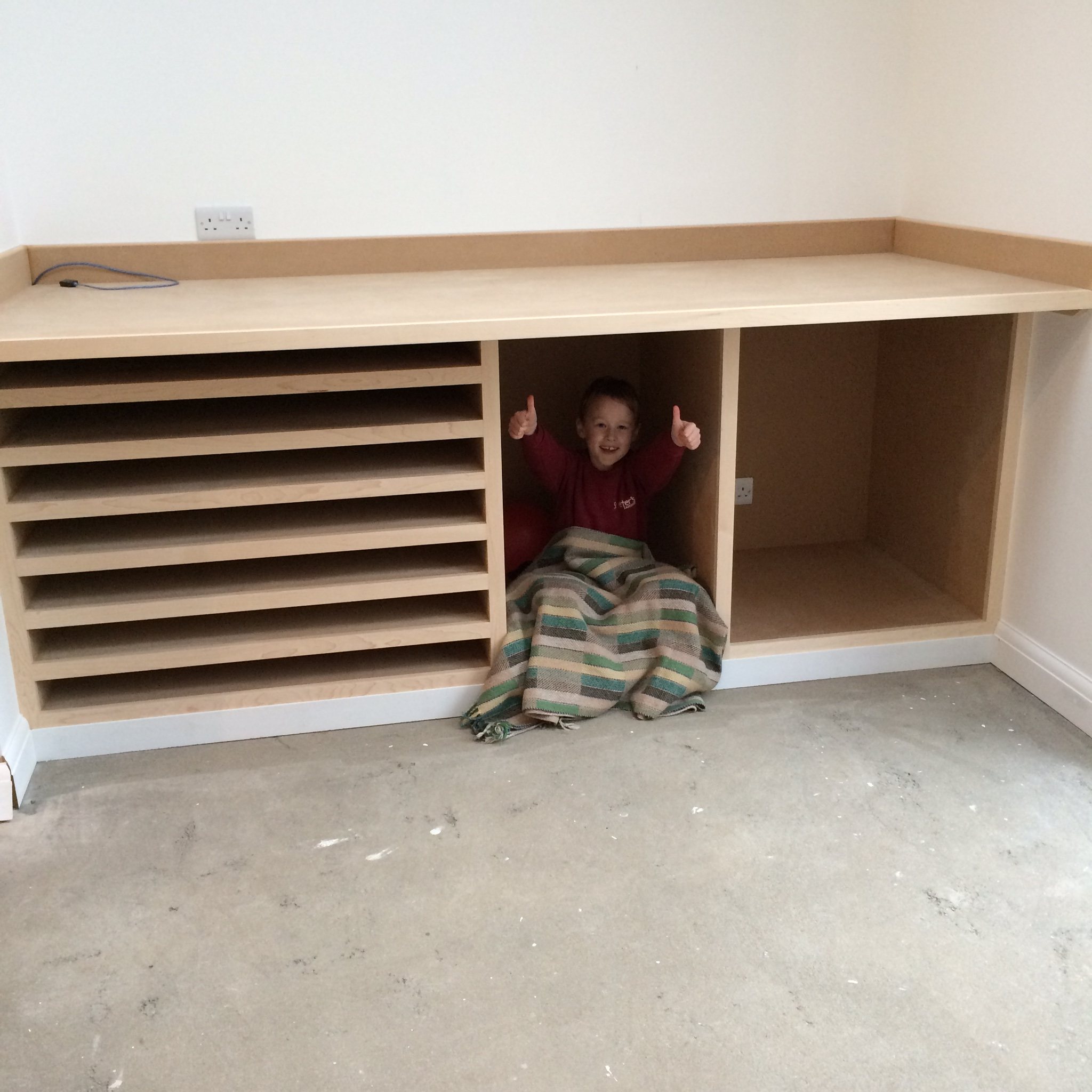 Did I mention I LOVE my work bench? Thank you so much Matt & Fred,  you did a great job and the quality of the workmanship is beautiful. As a fellow crafts person I really appreciate the work that went in to it, and it really is my favourite thing in the house.