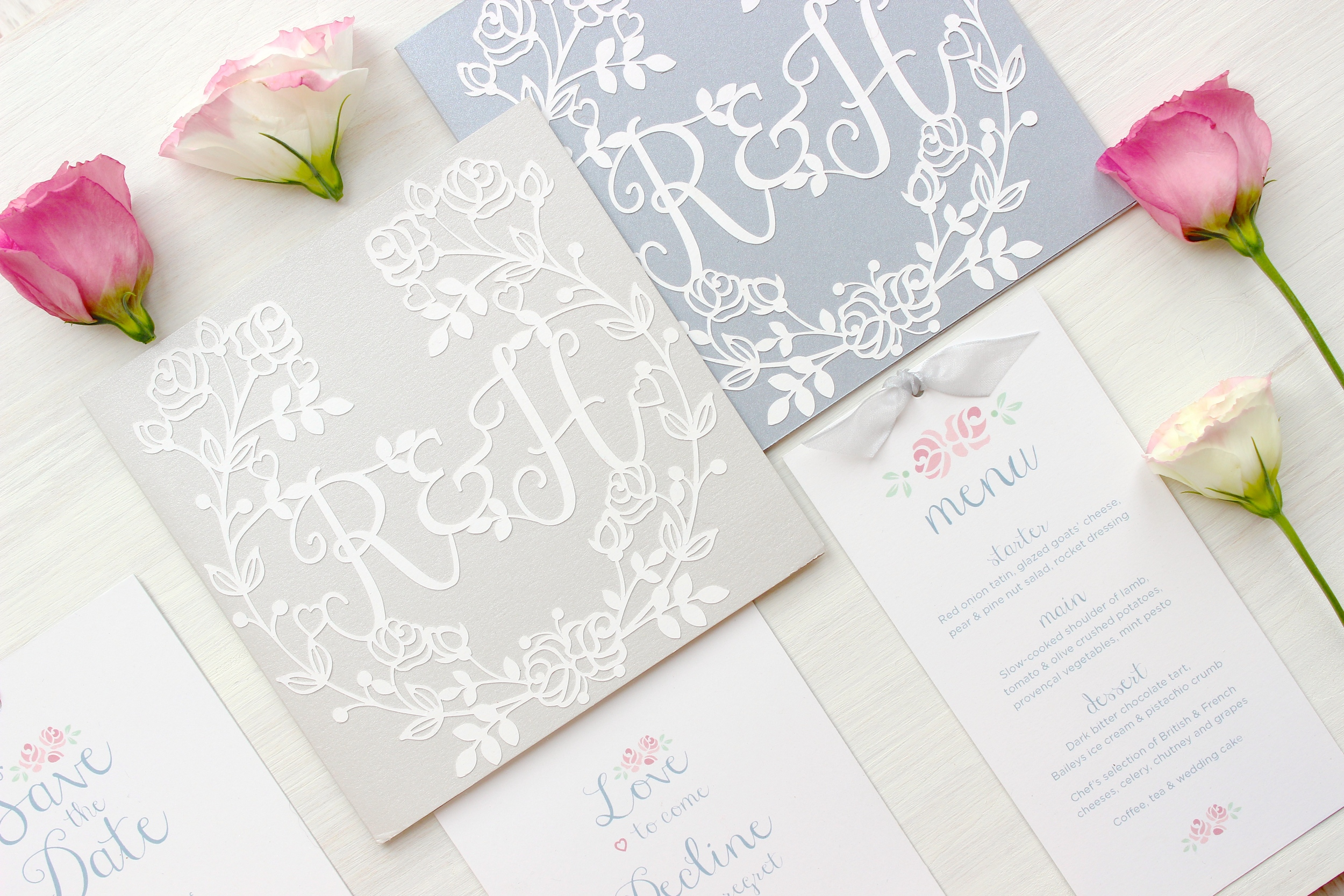 Vintage rose silver wedding stationery
