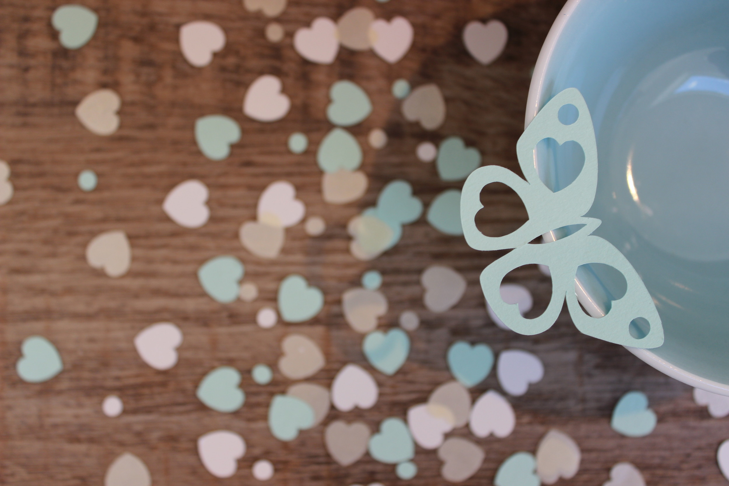 mint & ivory heart and butterfly confetti