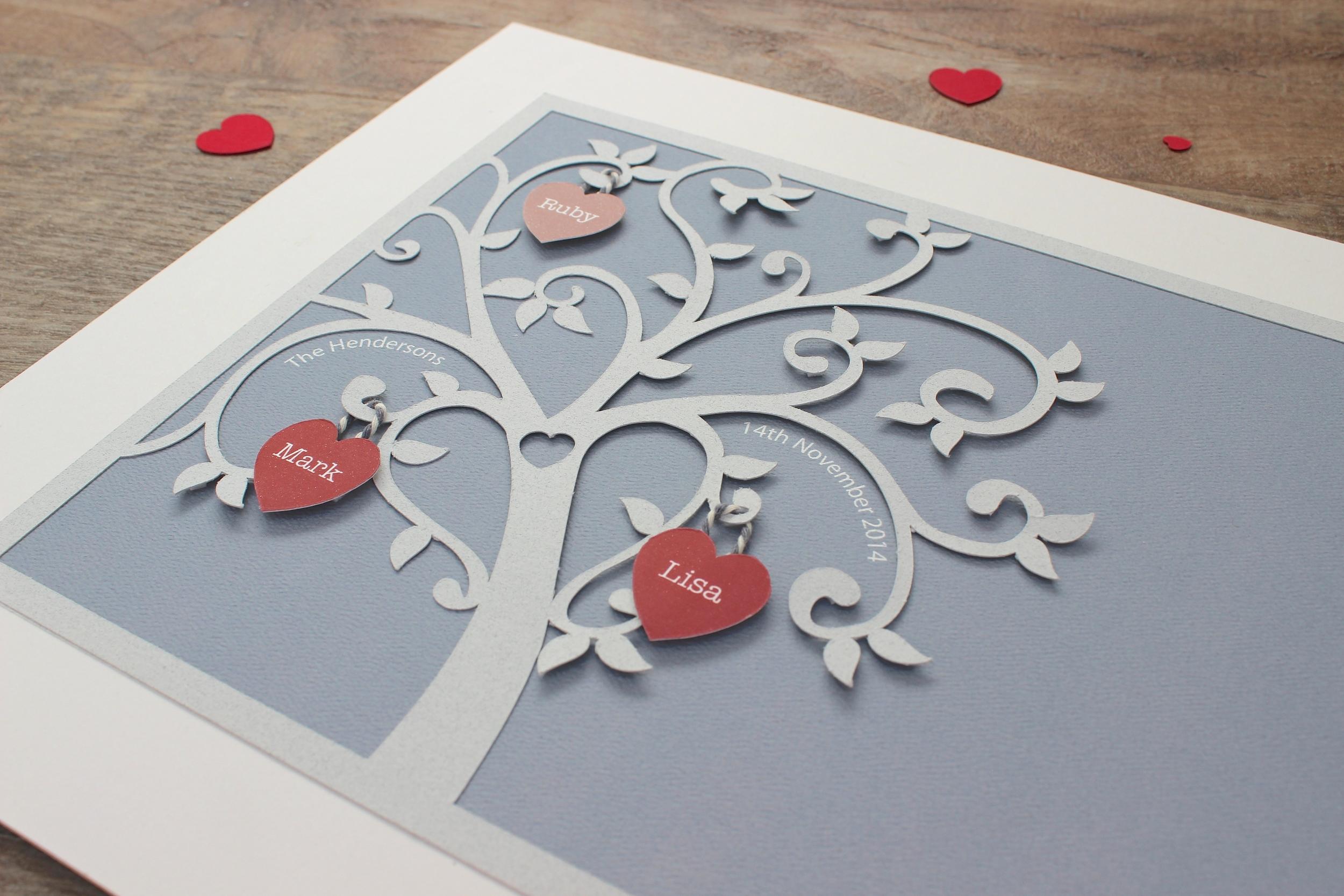 1st anniversary gift family tree paper cut wall art. 20 x 25cm