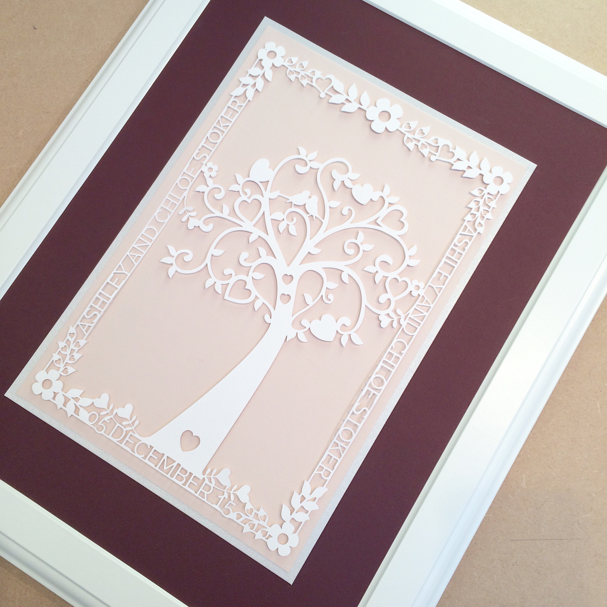 Personalised paper cut wedding tree picture