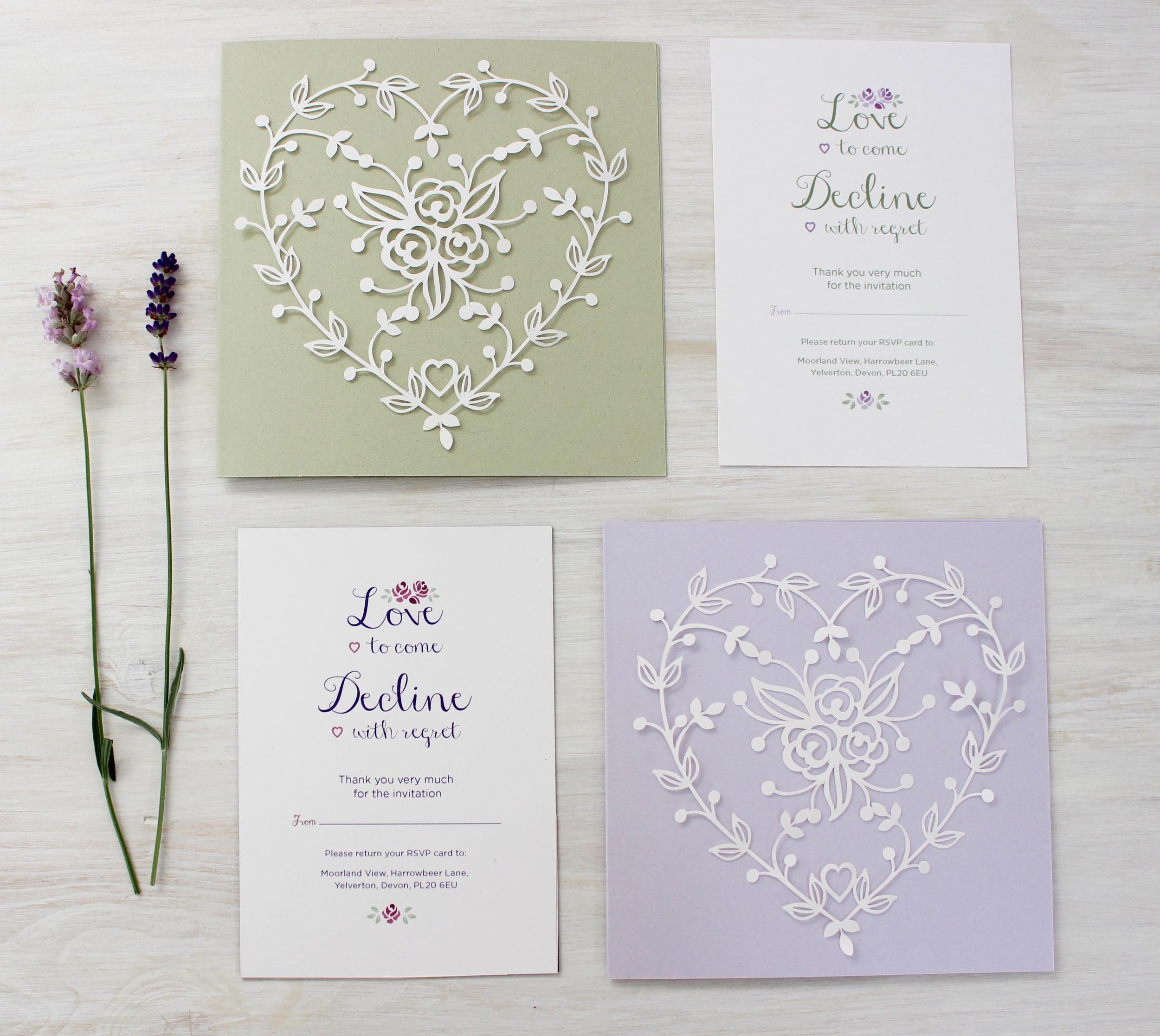 Lavender and Sage laser cut rose invitation