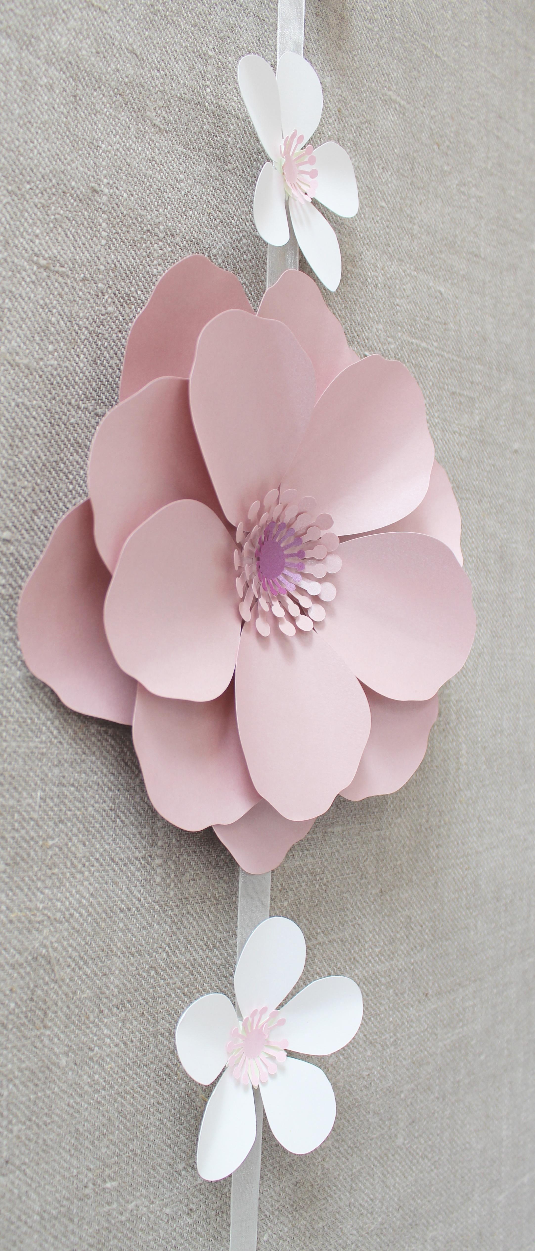 Pink paper peony garland
