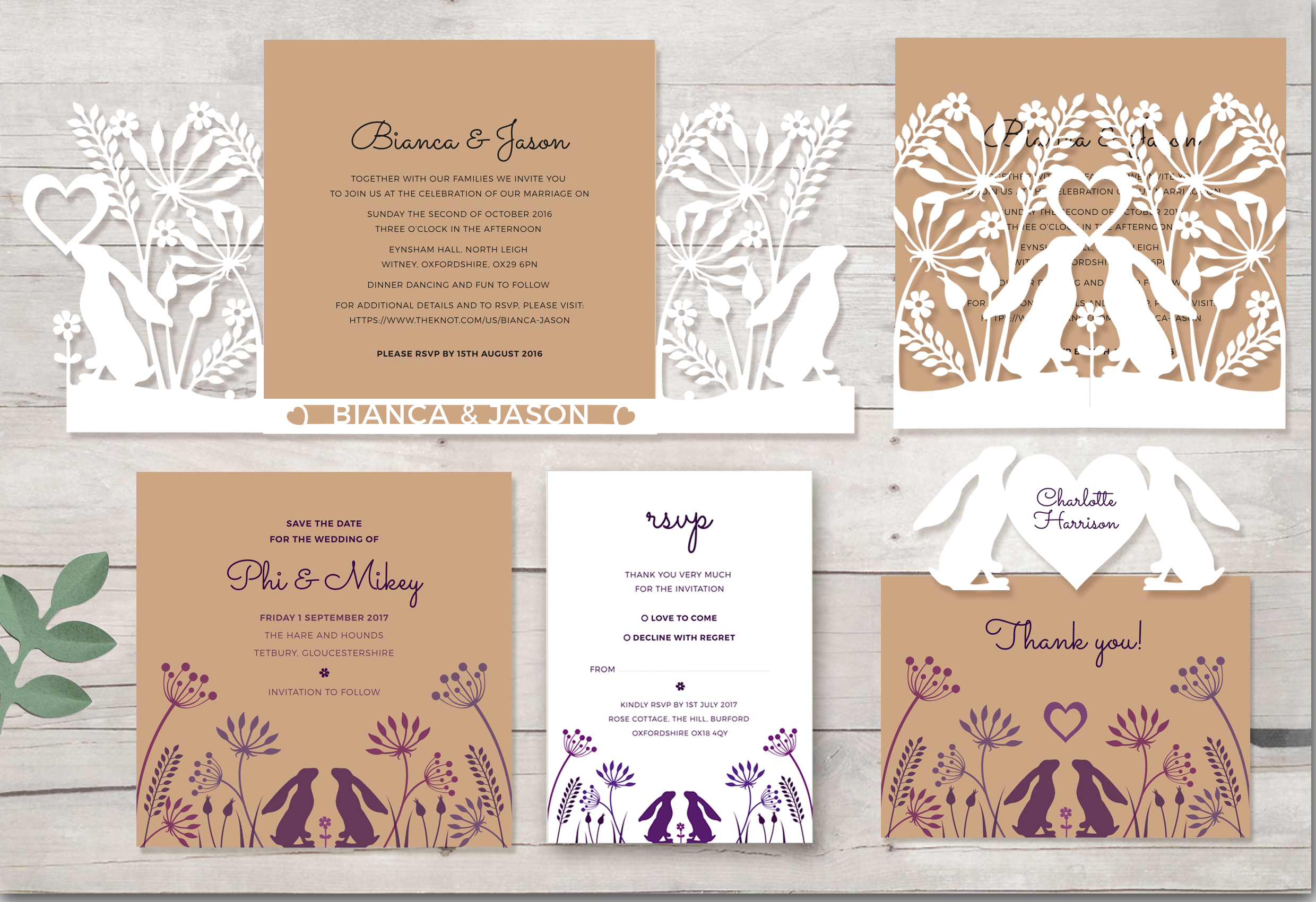 Cotswold Hares Wedding stationery