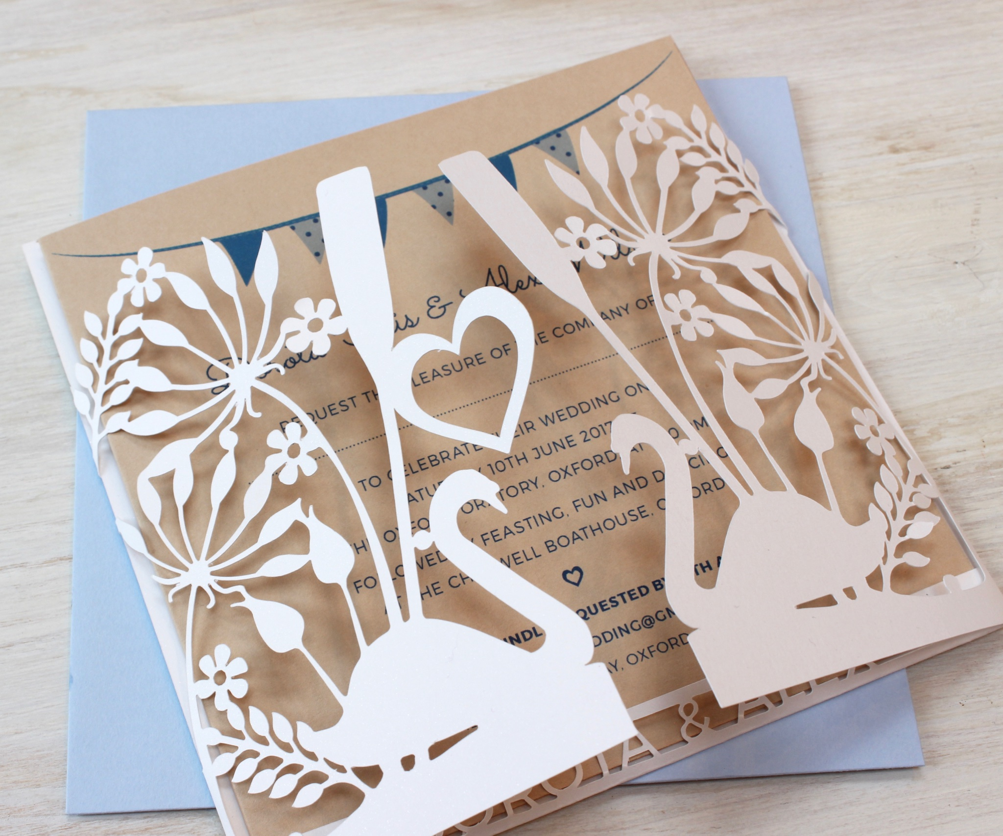 Swans wedding invitation