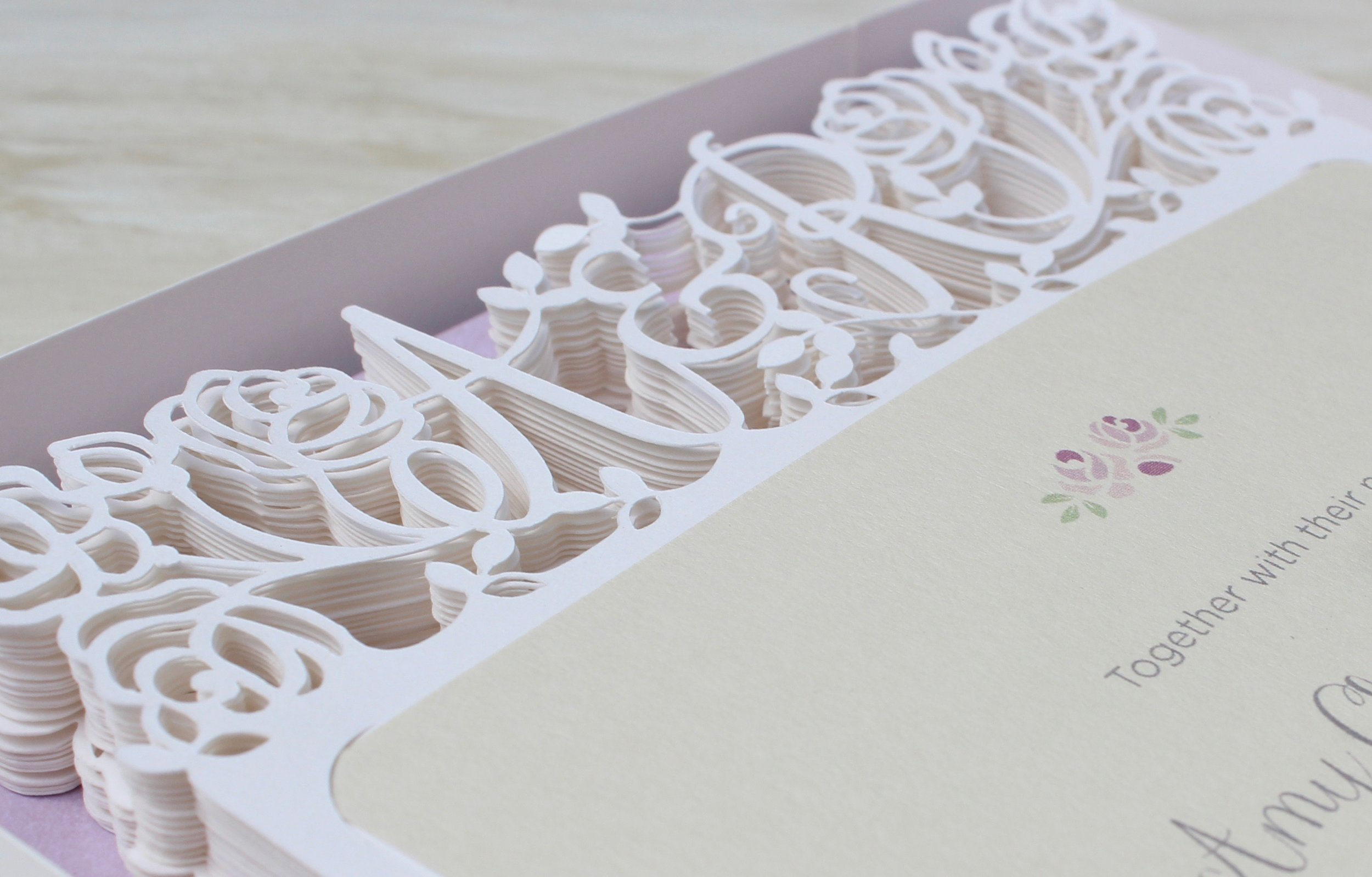 Vintage rose laser cut wedding invitation