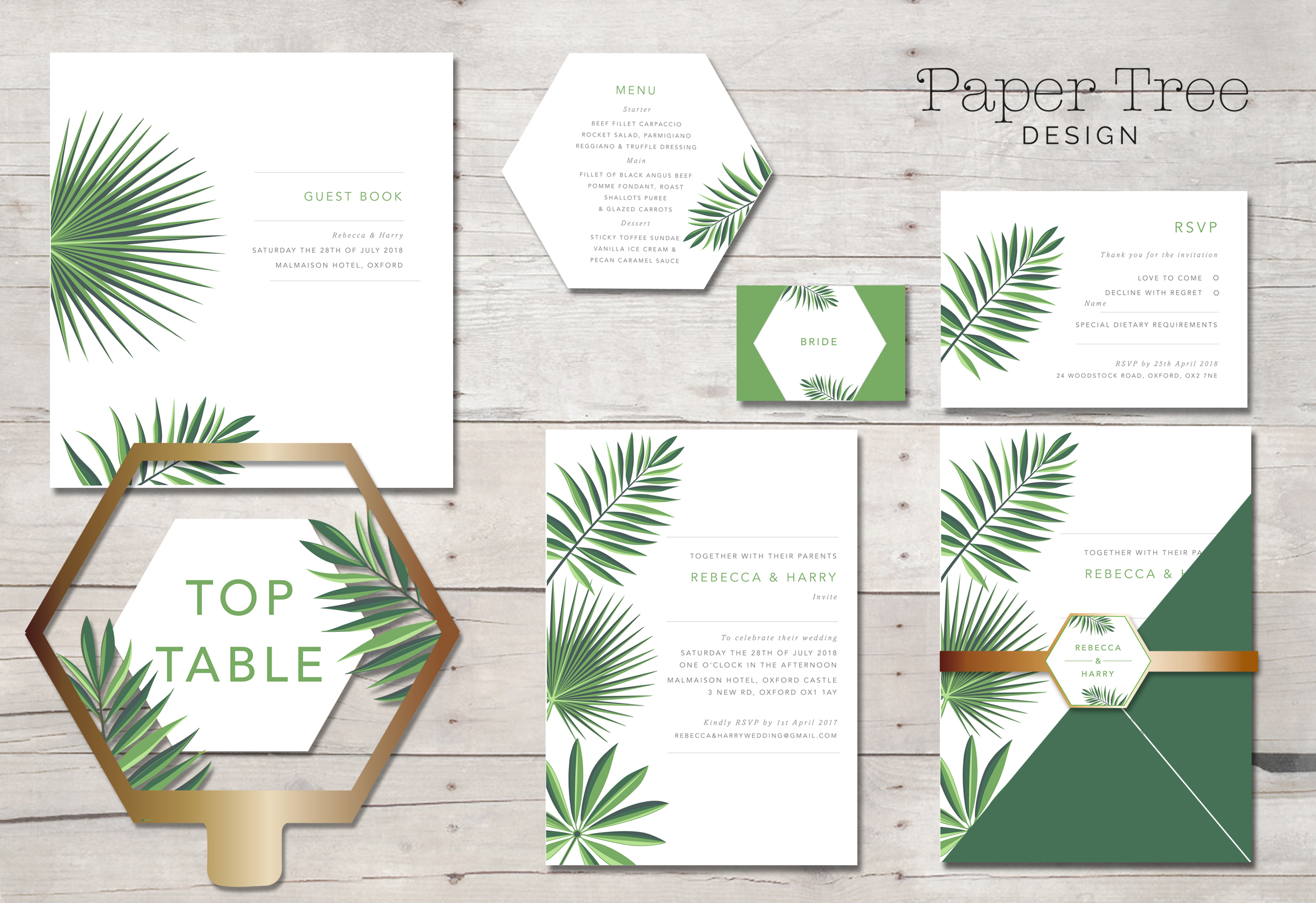 Tropical Greenery wedding Stationery range