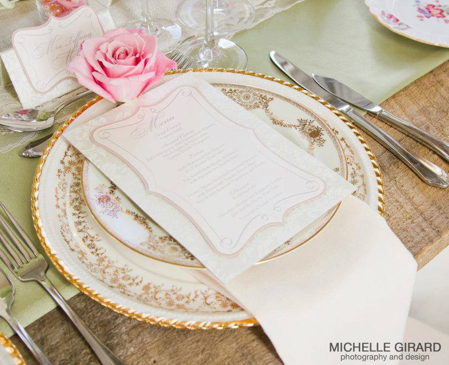 Vintage china and farm top tables. Photo by member Michelle Girard Photography.
