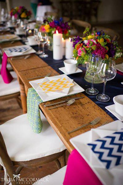 Modern, square china, modern flatware, Regal stemware, farm tables at  Hancock Shaker Village . Photo by member  Tricia McCormack Photography.