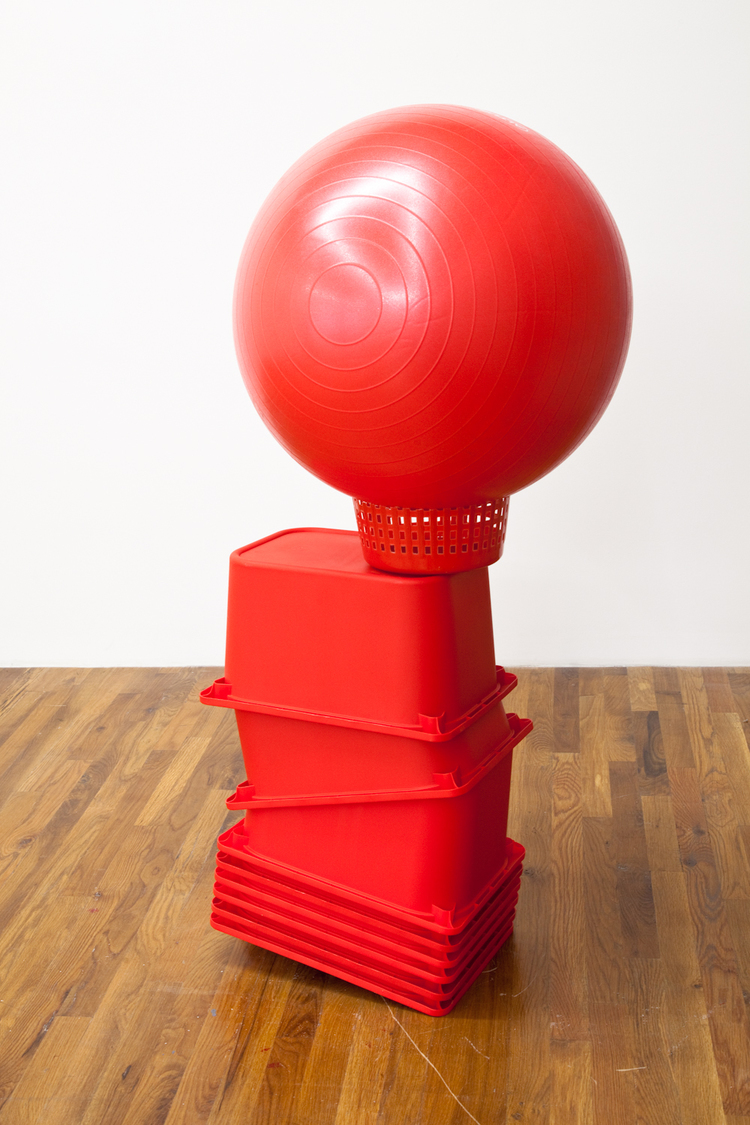 Untitled (Red) 2012 Buckets, fitness ball, wiffle ball 53 x 33 x 23 inches