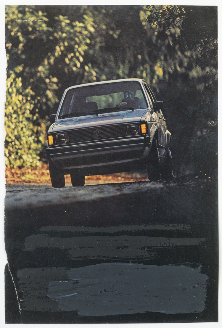 Mark Flood Muted Car Ad 1983 Acrylic on magazine page 10 1/2 x 8 inches