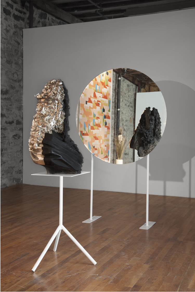 Clash of the Titans (January) 2013 Spray chrome, black soft touch steel, mirror, spotlight Dimensions variable