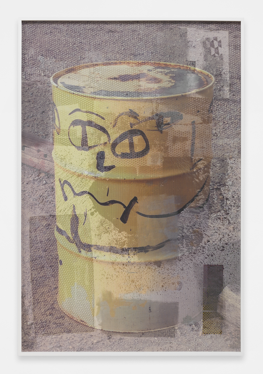 Happy Can-per   2014    Coated masonite, enamel, stickers, ink jet on perforated mesh, matte medium    72 x 48 inches