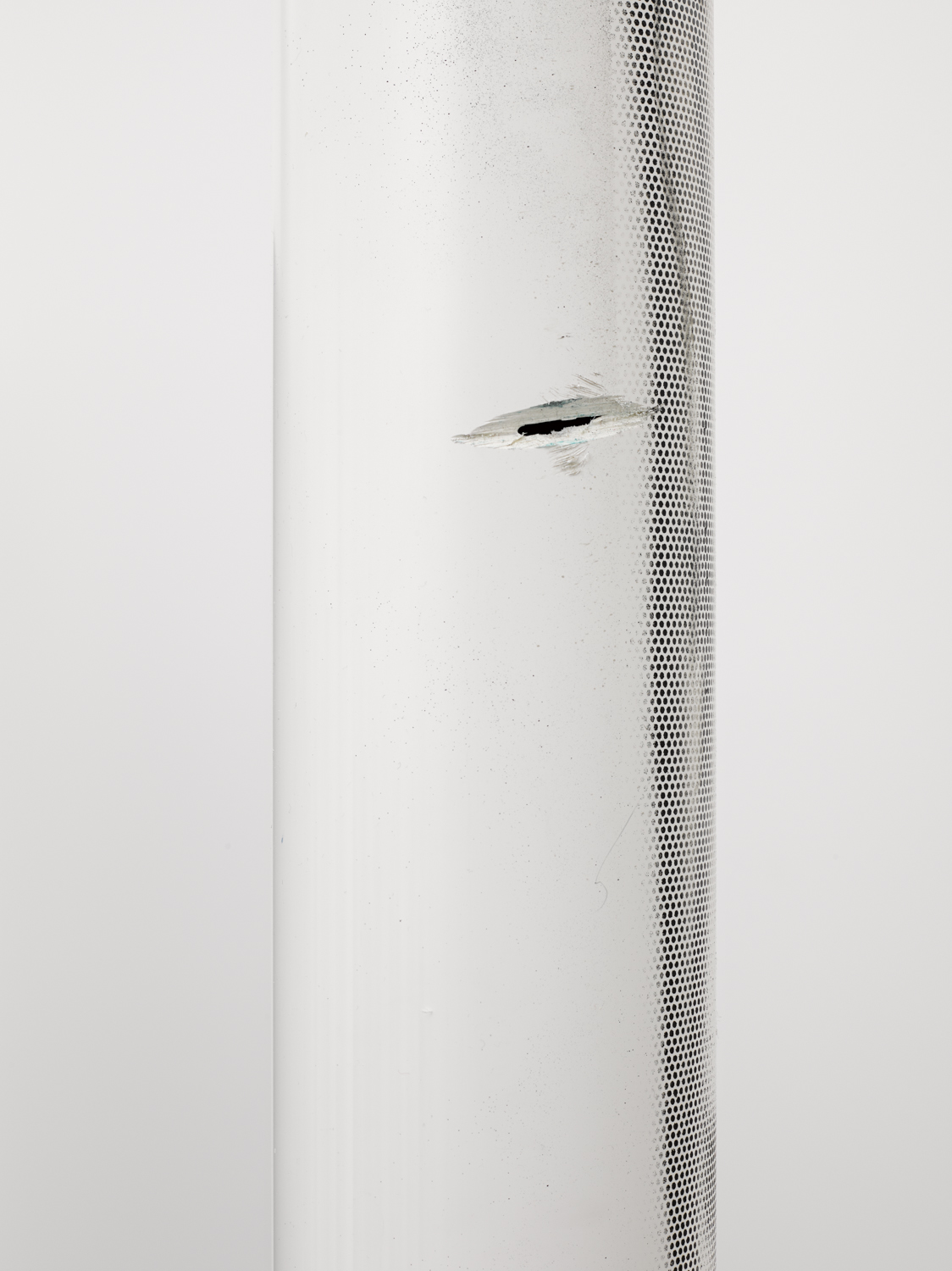 PVC personal visualisation criteria    (detail)   2014   PVC pipe, ink jet on perforated vinyl and enamel   169 x 4 x 4 inches