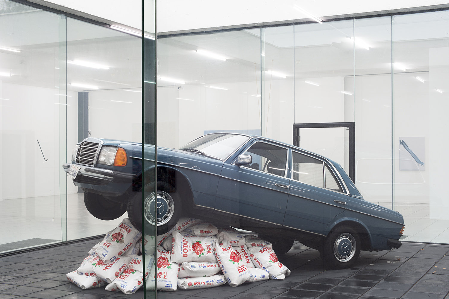 Nick Darmstaedter  Rice Rocket (blue) , 2014 Car on rice 197 x 165 x 71 inches