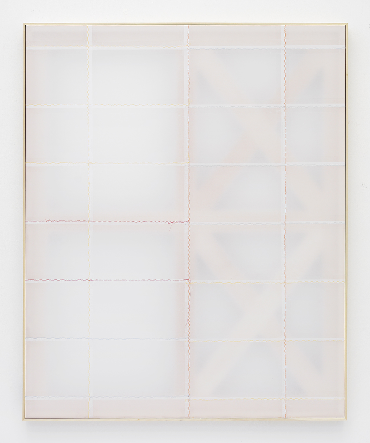 Jack Greer  Phase 2:12 , 2014 Paper, tape and thread on wood stretcher 54.75 x 44.75 inches