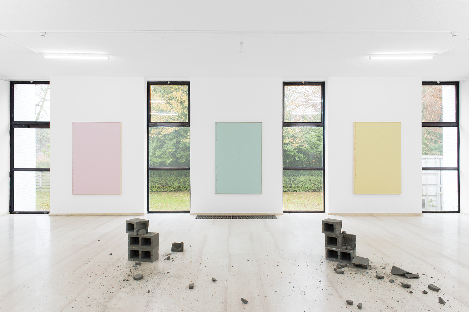 Isaac Brest  Piero Bisello #1/Piero Bisello #2/Piero Bisello #3 , 2014 Various brand of drywall in artist frame 72 x 48 inches each